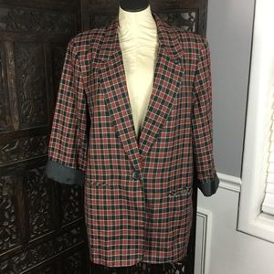 Vintage Oversized Red Plaid Blazer 10